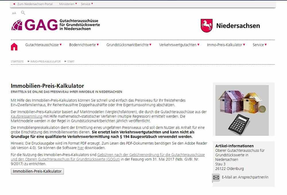 Immobilien-Preis-Kalkulator Niedersachsen Sachverständiger und Gutachter für Immobilien Bernd A. Binder